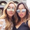 Lo nuevo cat eye sunglasses mujeres diseñador de la marca de doble vigas panel punch amor gafas de sol gafas de sol de espejo plano claro gota y30
