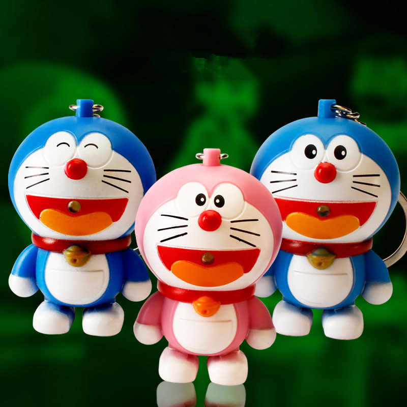 1PCS New Doraemon Figures Cartoon LED Doraemon Keychain Flash Sound Toys For Kids Gift