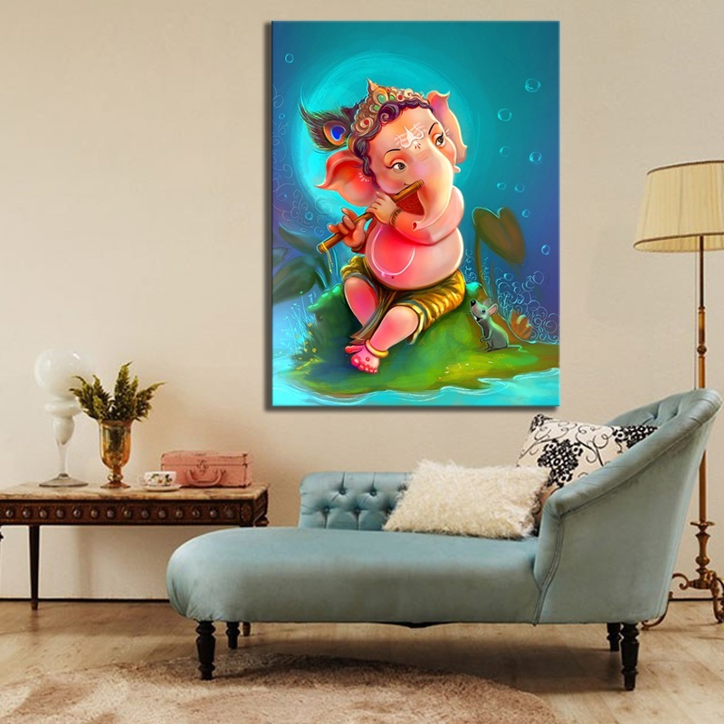 HD Picture Print Cartoon Kid Ganesha Artwork Drawing Painting on Canvas Wall Art for Home Decor 2