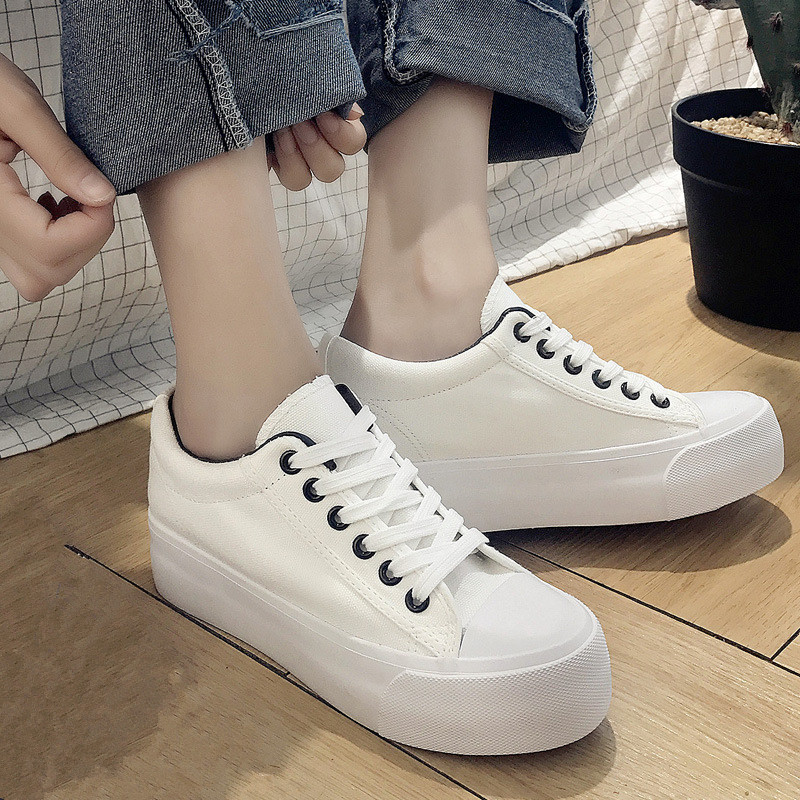 Fashion Solid White Sneakers for Women 2018 Spring Casual Canvas Shoes Women Thick Heel Platform Shoe Trainers Ladies