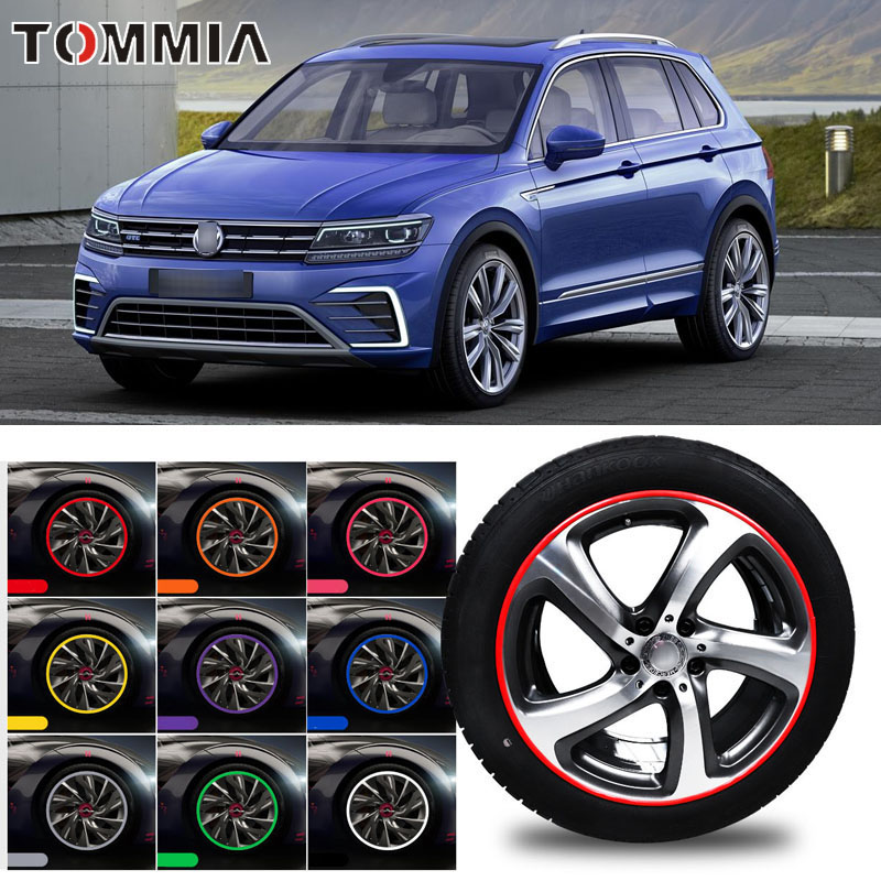 8M Car Wheel Hub Rim Edge Protector Ring Tire Strip Guard Rubber Decals For Volkswagen Tiguan in Styling Mouldings from Automobiles Motorcycles
