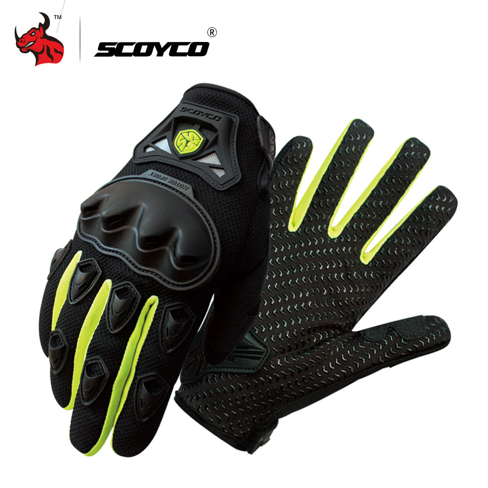 SCOYCO Motorcycle Gloves Professional Motocross Off-Road Racing Full Finger Gloves Moto Riding Gloves Protective Gear