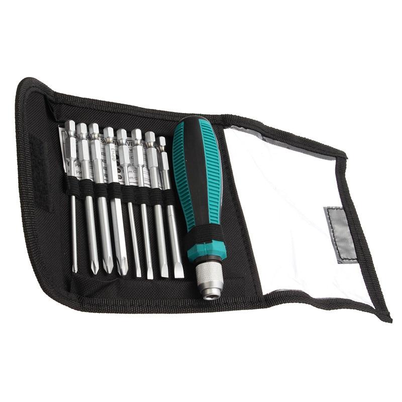 9pcs / set Set di punte per cacciavite di precisione NO.8108 Borsa per kit di cacciaviti 9 IN 1 8 inserti + 1 set di utensili manuali con impugnatura in gomma
