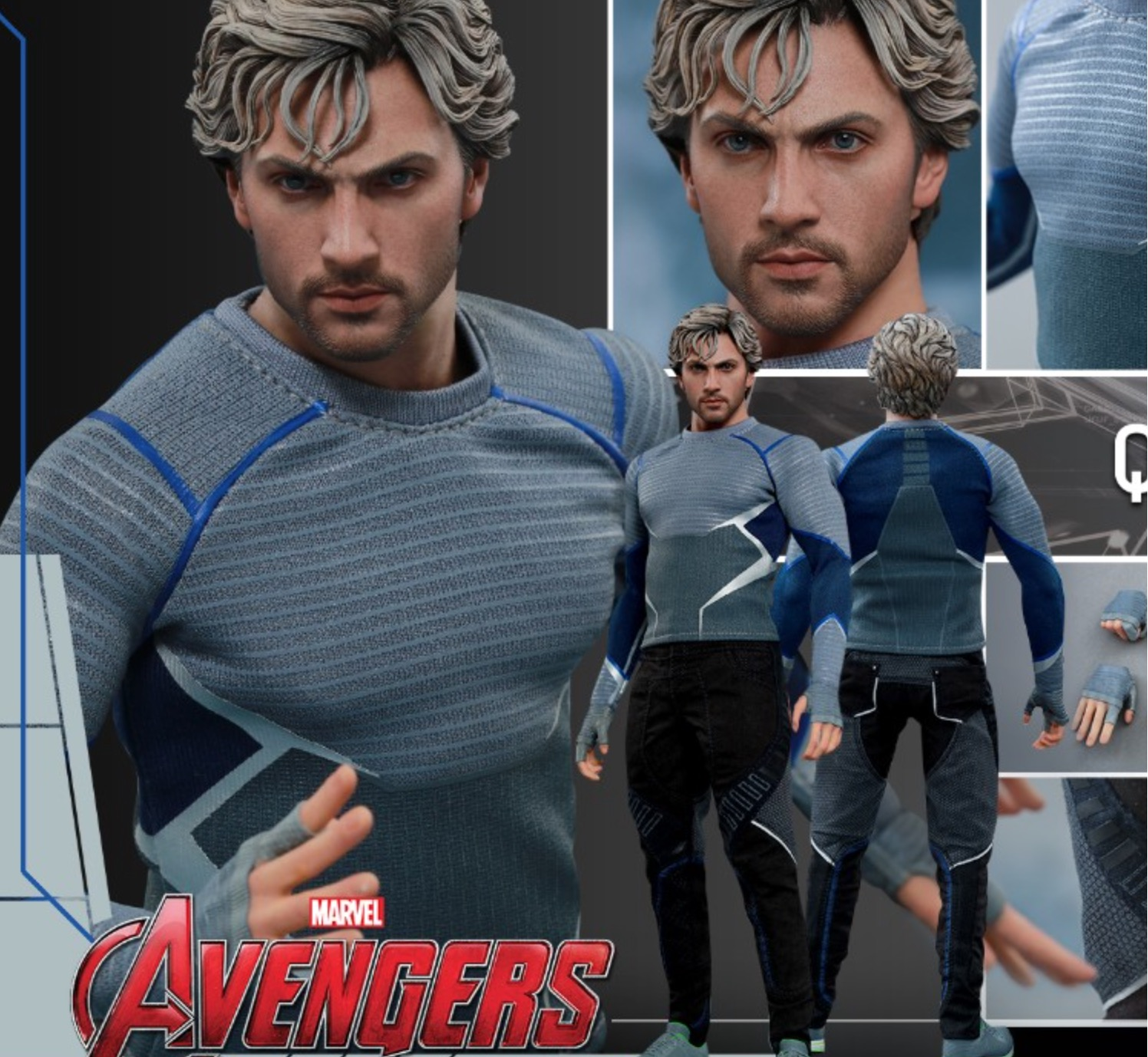 """1//6th Quicksilver head sculpt Avengers Age of Ultron For 12/"""" HT Male Action"""