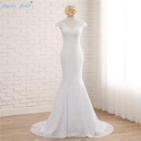 Sapphire Bridal Real photo Custom Made Lace Mermaid Wedding Dress White Ivory V Neck Cap Sleeve Beach Mariage Wedding Dresses