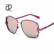 Feidu 2016 mariposa De la aleación mujeres primera marca Vintage recubrimiento UV400 espejo retrovisor Gafas De Sol para mujer Gafas De Sol