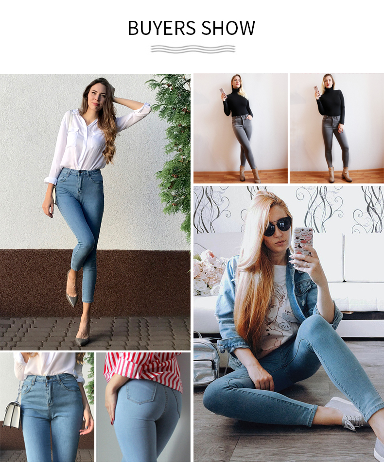 Women's High Waist Jeans Skinny Jeans Woman Plus Size Black Mom Jeans Femme Pencil Denim Pants Vaqueros Mujer Spodnie Damskie 4
