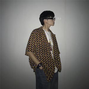 Image 3 - 2019 camisa hawaiana de manga corta con estampado Irregular de entramado para hombres, camisa de moda de marca para hombres con puño francés