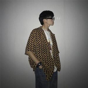 Image 3 - 2019 sommer männer Neue Muster Unregelmäßigen Gitter Druck Kurzarm Hawaiian Shirt Französisch Cuff Mens Marke Mode Shirts