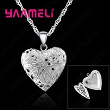 Vintage Bijoux Femme 925 Sterling Silver Jewelry Hollow Out Heart Frame Photo Pendant Necklaces Women Choker Boho Style(China)