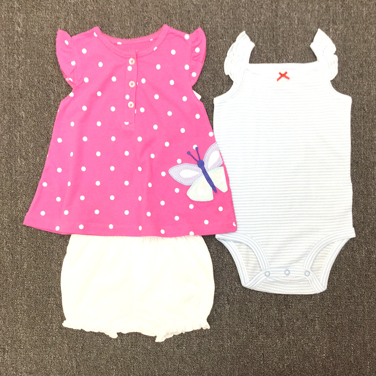babzapleume Summer Style Newborn Baby Clothes 100% Cotton Cute T-shirt+Rompers+Shorts Infant Girls Clothing Set 3PCS Suit BC1426