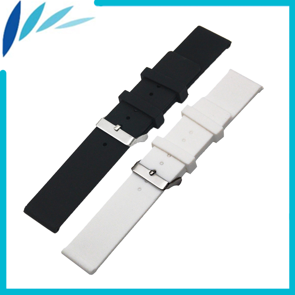 Silicone Rubber Watch Band 20mm 22mm 24mm for Fossil Stainless Steel Pin Clasp Strap Wrist Loop Belt Bracelet Black White + Tool 21mm stainless steel watch band for bell ross push button hidden clasp metal strap wrist loop belt bracelet black silver pin
