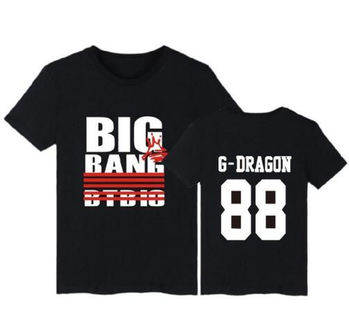 1e55233be8 Aliexpress.com  Comprar K pop Bigbang Camiseta Big Bang Camiseta Superior camisetas  Camisa o cuello Flojo de Manga Corta Big Bang negro Blanco Tops Camiseta ...
