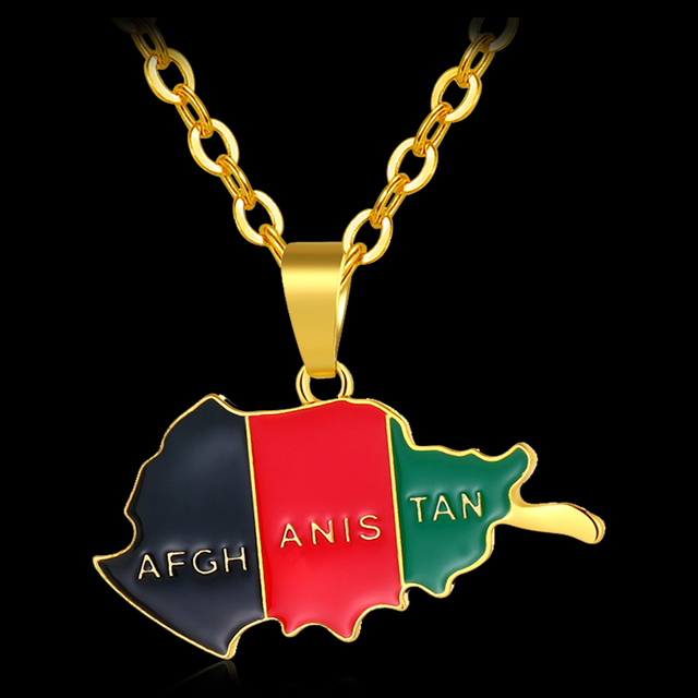 Fashion Africa Afghanistan Map and Flag Pendant and Necklaces for