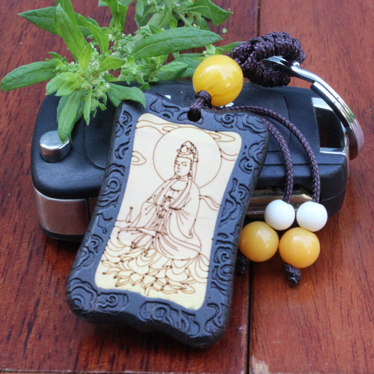 1 pc New arrive ebony wooden carve Avalokitesvara Buddhisattva Car Lucky safe Key chain bag pendant Keychain key rings