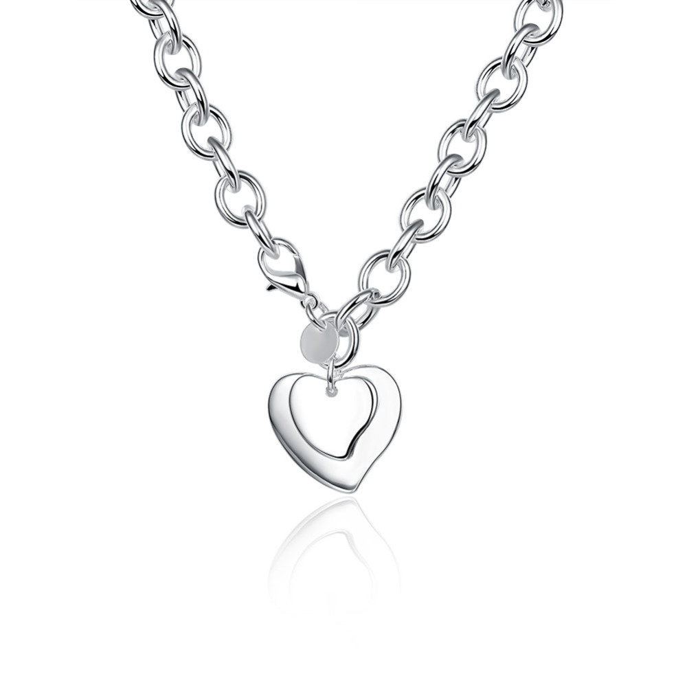2017 popular necklace hi-quality 925 sterling silver jewelry fashion silver big chain two double heart pendant necklaces N252