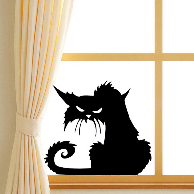 popular vinyl removable 3d wall stickers halloween black cats decor decals for walls decal wall murals - Halloween Cat Decorations