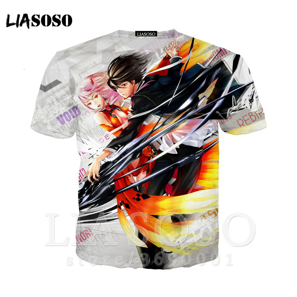 LIASOSO 3D Print Women Men Anime <font><b>Guilty</b></font> <font><b>Crown</b></font> YUZURIHA INORI OUMA SHU <font><b>Tshirt</b></font> Summer T-shirt Hip Hop Cool short Sleeve X1328 image