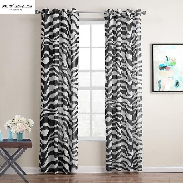 XYZLS Moderne Noir Et Blanc Zèbre Rayure Rideau Salon Chambre Oeillets Rideaux  Rideaux Fenêtre Panneau 1