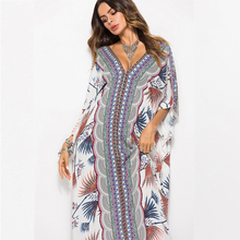 V-Neck Sexy Bohemia Printing Women Long Dress Floral Batwing Sleeve Female 2019 Fashion Clothing Summer Plus Size