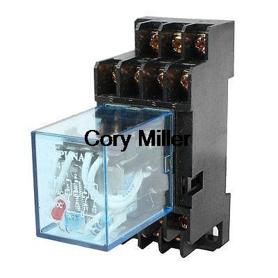 HH54P DIN Rail 12VAC Coil 4PDT 14P General Purpose Power Relay w DYF14A Base 1set my4nj dc 12v coil 4no 4nc green led indicator power relay din rail 14 pin base mini relay