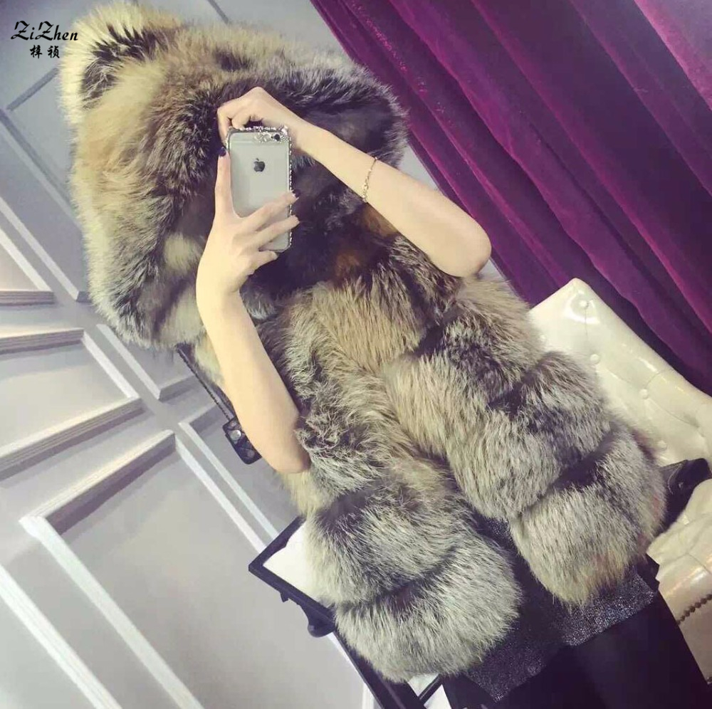 Winter font b Women b font Genuine Natural Fox Fur Vests Waistcoat Real Fox Fur Gilet