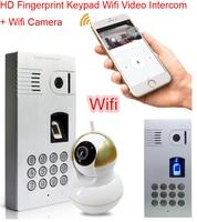 Wifi Video Intercom Fingerprint Code Keypad Wireless Network Video Door Phone Intercom Waterproof IP66 Doorbell For
