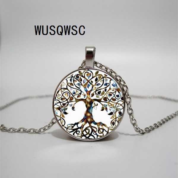 WUSQWSC ใหม่ชีวิตต้นไม้สร้อยคอแก้ว Art Photo แก้วจี้ Glamour Lady สร้อยคอ Diy สร้อยคอเครื่องประดับของขวัญ
