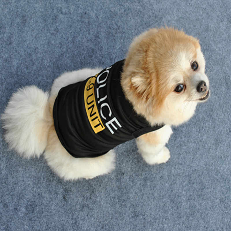 d4a4c00621d1 Pets Dogs Vest Dress Handsome Police Pattern Pet T-Shirts Small Puppy  Summer Comfortable Clothes