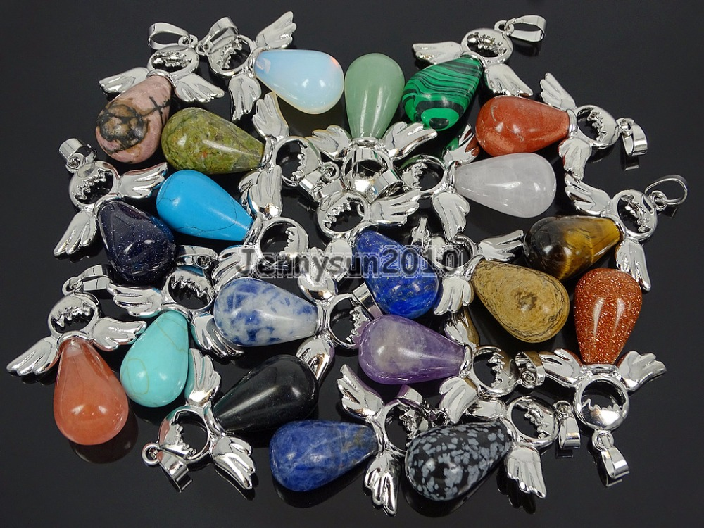 Natural Gemstone Angel Wing Teardrop Healing Pendant Charm Beads Silver Plated