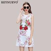 White Jacquard Fashion Dresses Korea Sleeveless Summer 2017 Princess Print Embroidery Patchwork Slim Sequined Designer Dress