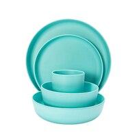 lekoch European tableware 5pcs blue Bamboo fiber Household Dishware Set Simple dishes salad Soup bowl Steak plate Western dish