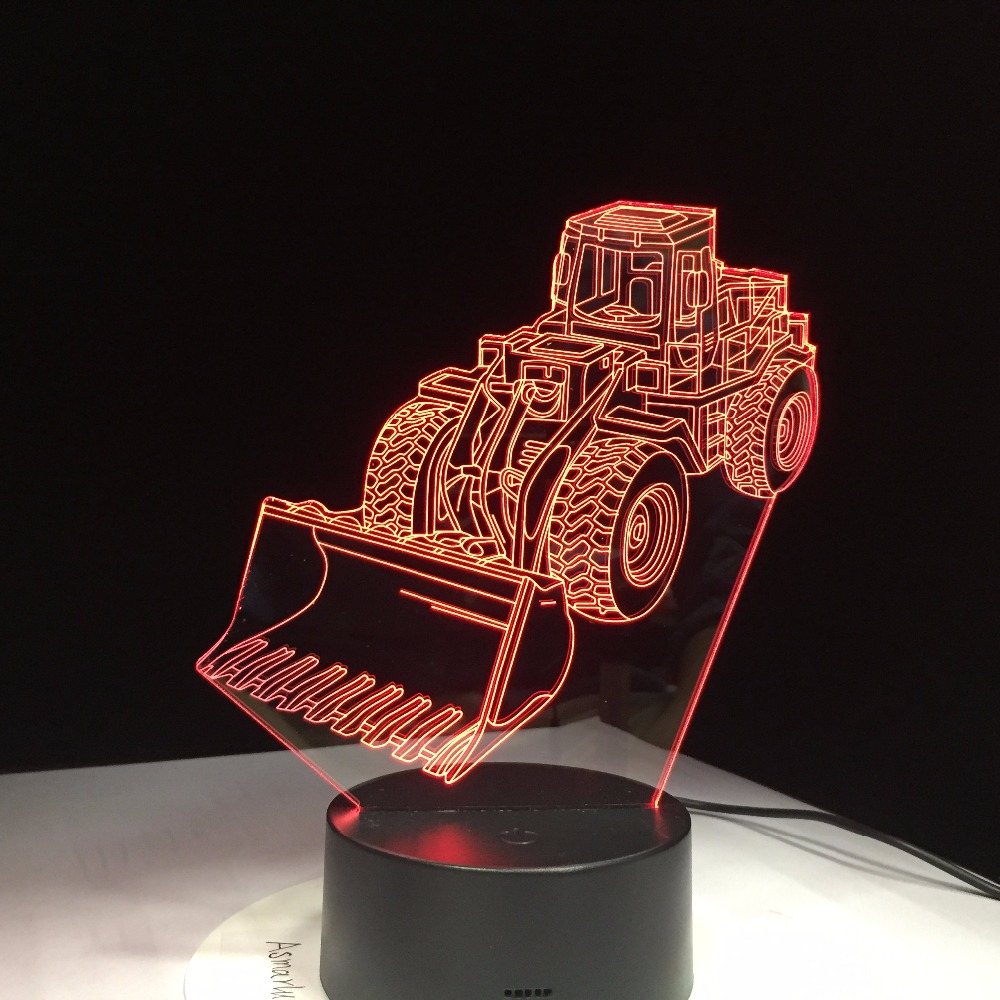 Excavator Bulldozer Machine lamp 3D LED Night Light 7 Color Change Atmosphere Touch Lamp Vision Acrylic Lamp USA Drop Ship Gifts