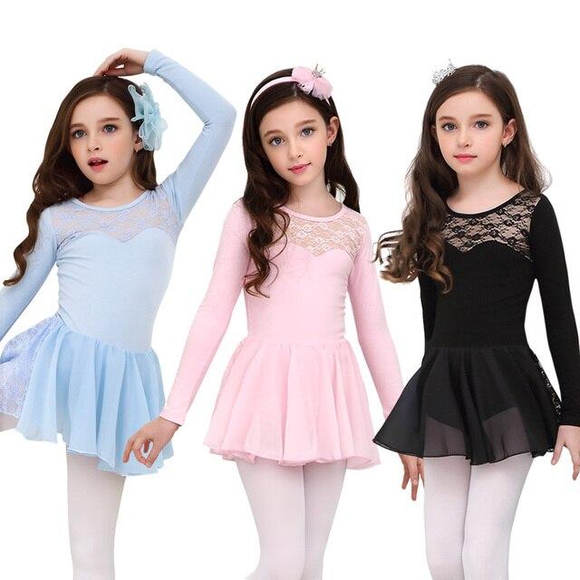 Балетное платье хлопок Обнаженная Подкладка Длинные рукава купальник кружева шифон юбка Классическая Одежда для танцев для Детское платье для танцев