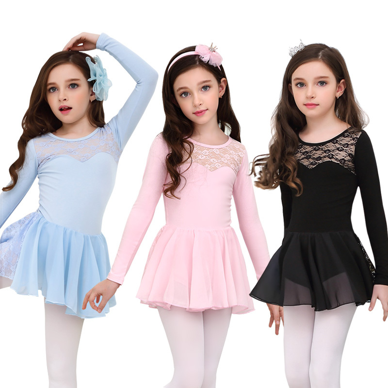 Ballet Dress Cotton Nude Lining Long Sleeve Leotard  Lace Chiffon Skirt Classic Dance Wear For Kids Dance Dress