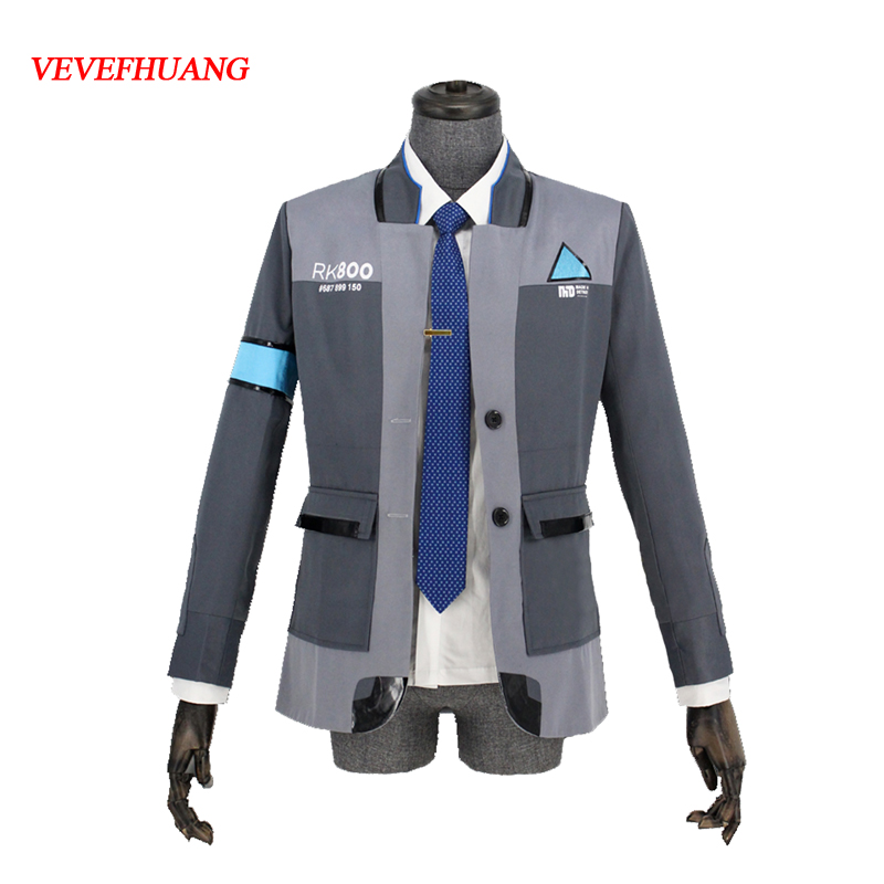 VEVEFHUANG Game Detroit: Become Human Connor RK800 Agent Suit Uniform Tight Unifrom Cosplay Costume for Halloween