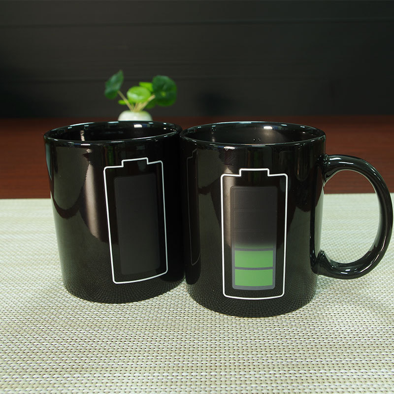 Abay Creative Battery Magic Mug Positive Energy Color Changing Cup Ceramic Discoloration Coffee Tea Milk Mugs Novelty Gifts