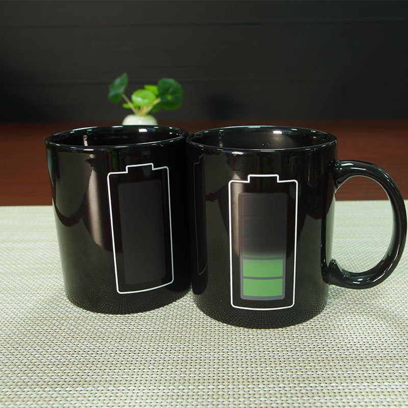 Abay креативная батарейка волшебная кружка положительная энергия чашка с изменяющимся цветом керамическая СОП цвет ation кофейные кружки для чая, молока новые подарки
