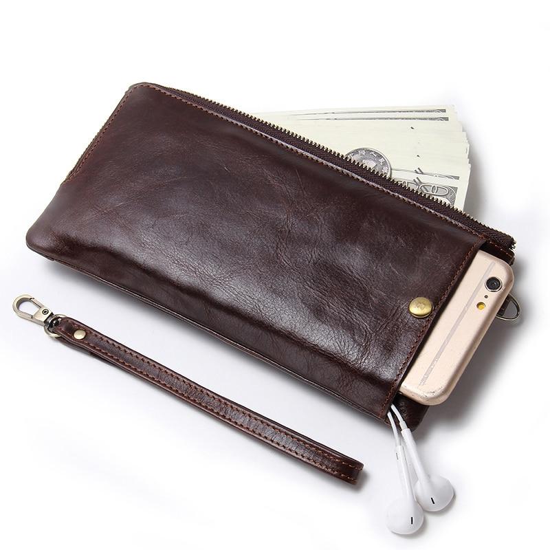 Image 2 - CONTACTS Wristlet Bag Genuine Leather RFID Cellphone Wallet  Mens Clutch Wallets Men Credit Card Holder Male Long Purse Zipperlong  pursewallet menclutch wallet