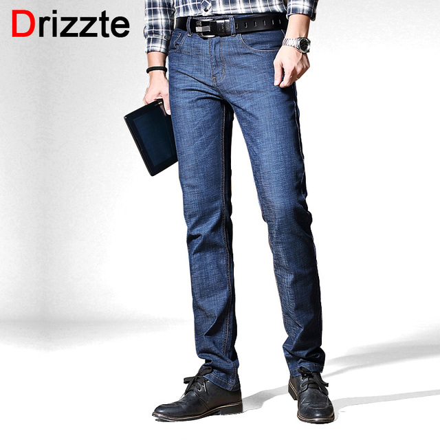 666a3075098 Drizzte Men s Jeans Stretch Blue Denim Business Straight Slim Fit Jeans  Size 30 32 34 35 36 38 40 Pants Trousers Jean for Men