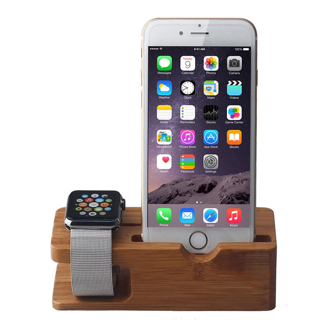 2016 NEW Multi-function Bamboo Wood Phone Charge Mount Holder Stand For Apple Watch For iPhone 4/4S/5/5s/5c/6/6s Plus