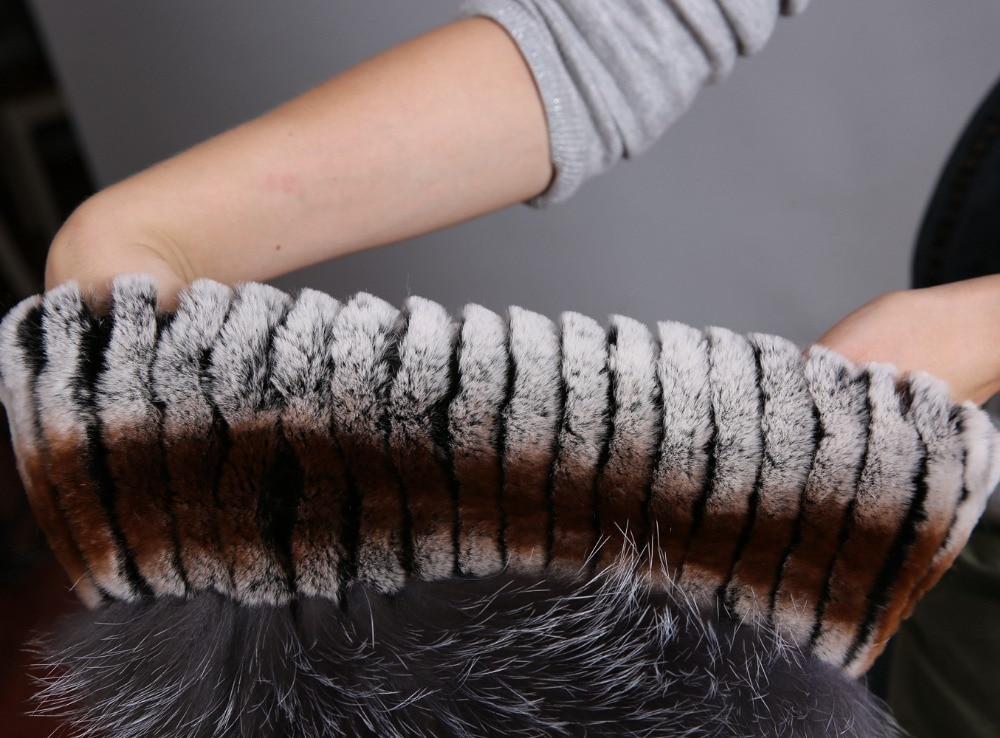 Women's Fur Hat Russian Knit Cap Hat Female Winter Rabbit And Fox Hat Real Fur Hat Caps Winter Women Ski Cap Protection Ear