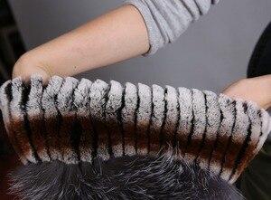 Image 5 - Womens Fur Hat Russian Knit Cap Hat Female Winter Rabbit And Fox Hat Real Fur Hat Caps Winter Women Ski Cap Protection Ear