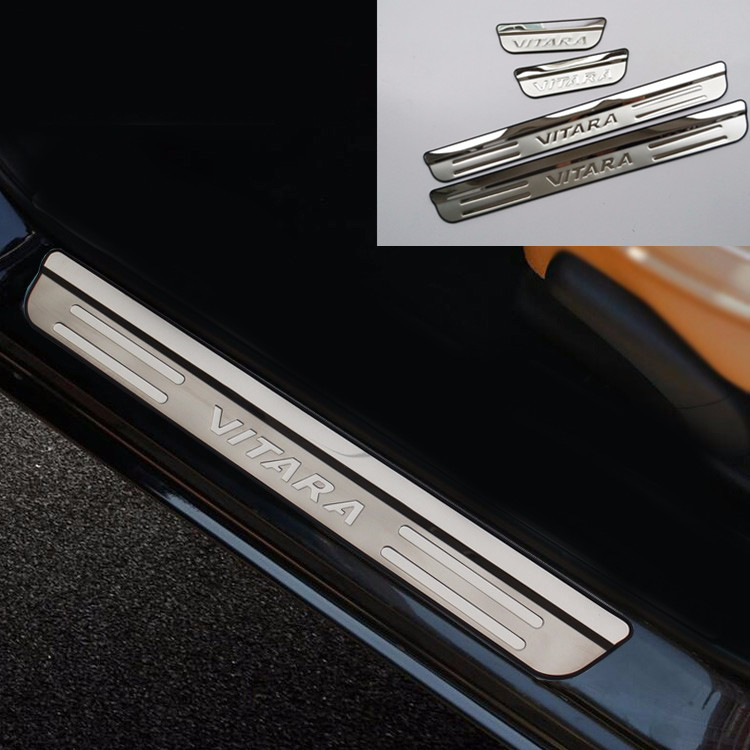 Car Stainless Steel Door Sill Scuff Plate Guard For Suzuki Vitara 2015 2016-2018