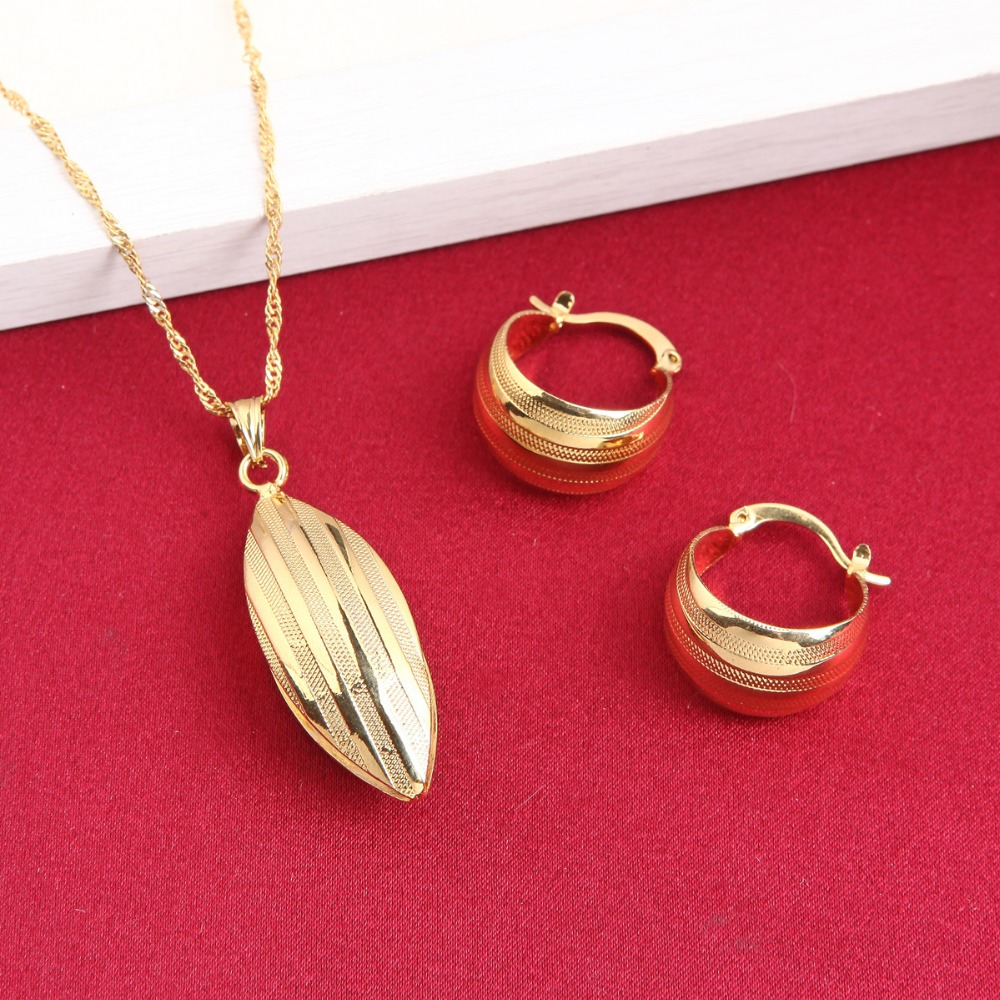 Popular Ethiopian Earring Pendant Set Joias Ouro 24K Gold Filled Jewelry African Bridal Jewelry Sets