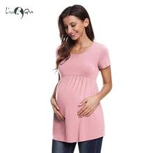 e88592c61 Volantes camisa de maternidad las mujeres Tops rosa de manga corta de una  línea O cuello embarazada de Maxi maternidad ropa de e.