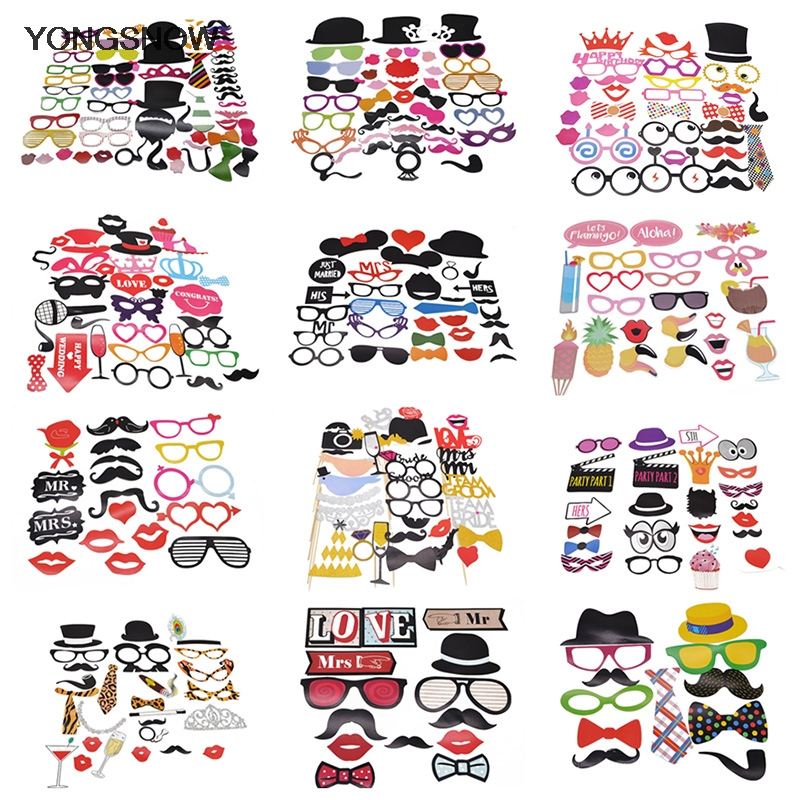 1set Funny Wedding Decoration Photo Booth Props Baby Bridal Shower Wedding Party Decoration DIY Mask Glasses Photobooth Props