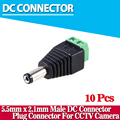 2017 Hot sale,10Pcs/lot 5.5mm*2.1mm DC Connector CCTV Power BNC Connector for CCTV Camera