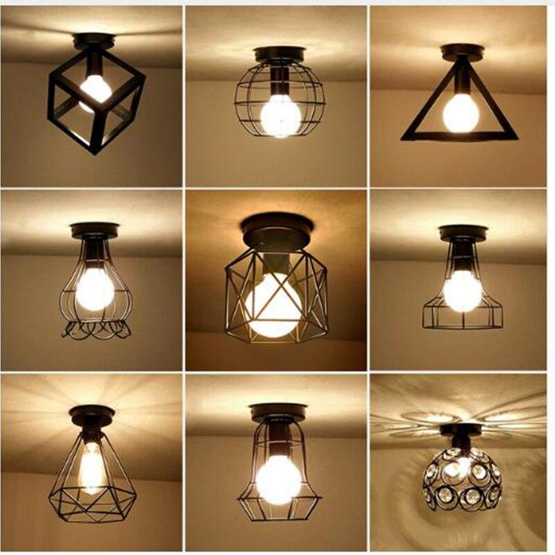 Vintage Ceiling Lights Iron Art Black E27 Bulb Ceiling ...