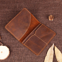 Nesitu Vintage Thick Real Skin Genuine Leather Durable Women Men Passport Cover Passport Holder Wallet Credit